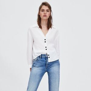 Zara Buttoned Cropped Blouse
